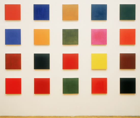 Marcia Hafif, Glaze Paintings, studio installation, 1995. Each oil on canvas, 22x22cm