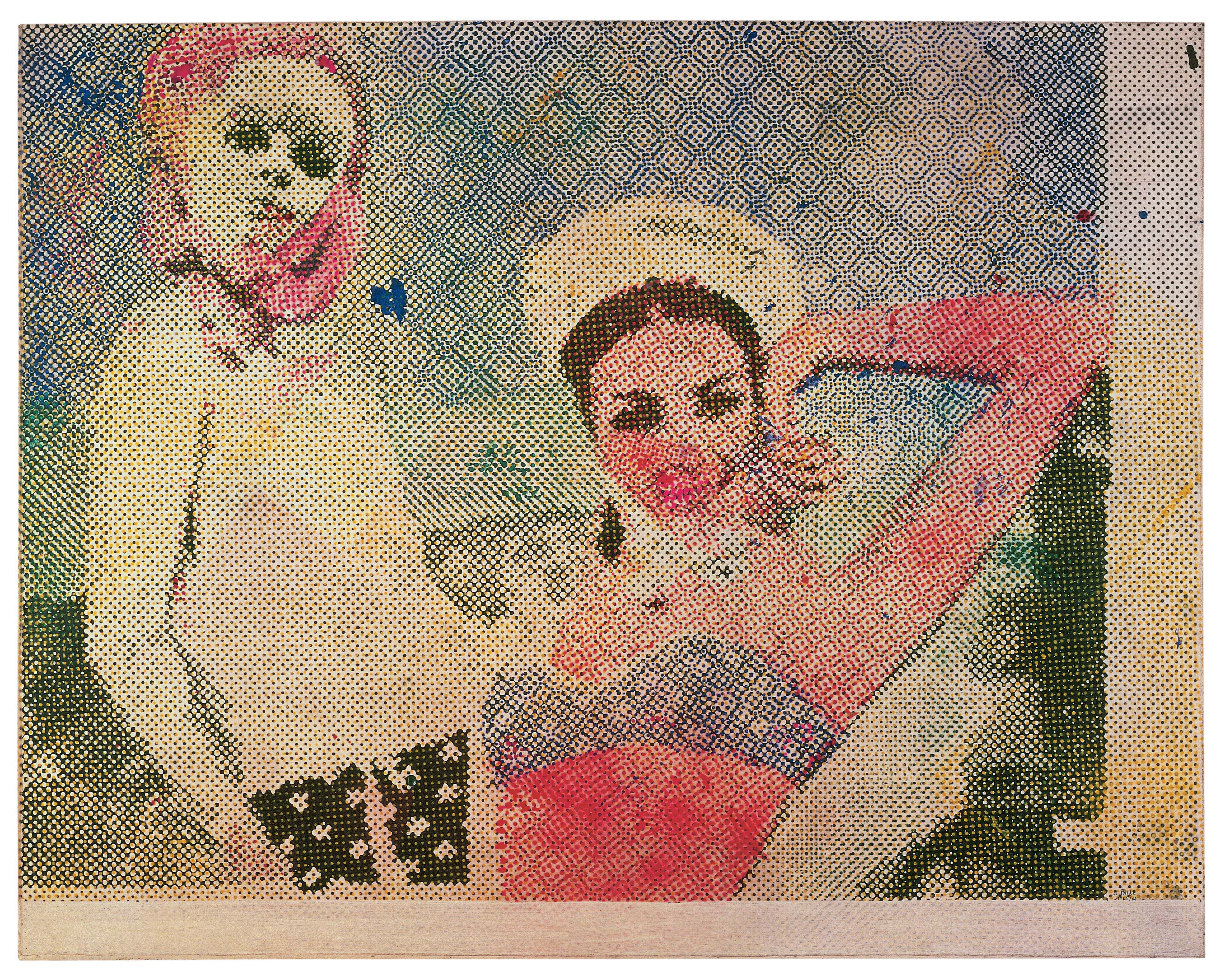 Sigmar Polke, Girlfriends (Freundinnen),  dispersion paint on canvas, 1500 x 1900mm (1965-66). Courtesy of the artist.