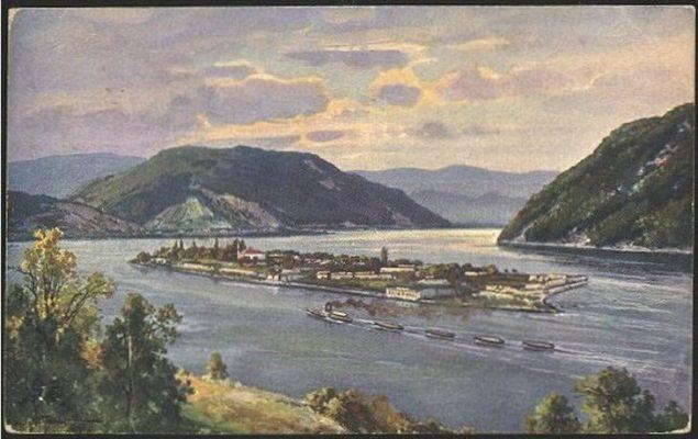 Painting of Ada Kaleh, c. 1980.