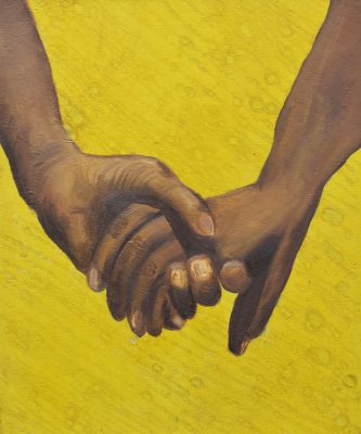 Sola Olulode, Hold My Hand, 2019. Oil and ink on canvas, 60 x 50 cm. Courtesy the artist.